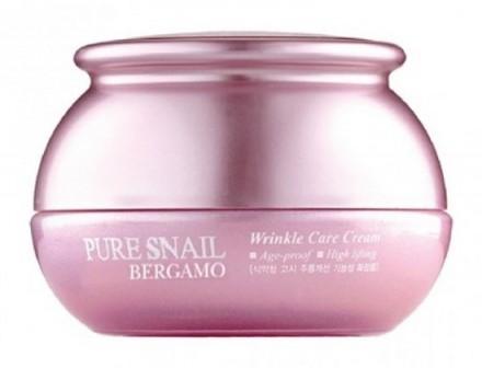 Крем для лица с муцином улитки антивозрастной BERGAMO Pure snail wrinkle care cream 50 г: фото