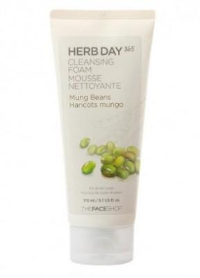 Пенка для умывания с бобами маш THE FACE SHOP Herb day 365 cleansing foam Mung Bean 170мл: фото