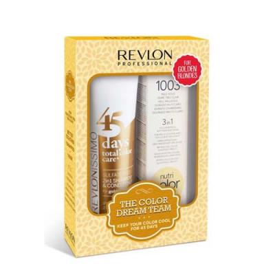 Набор Revlon Professional Теплый блонд: крем-краска 100мл + шампунь-кондиционер 275мл: фото
