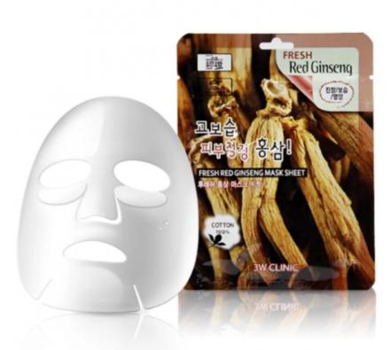 Тканевая маска для лица КРАСНЫЙ ЖЕНЬШЕНЬ 3W CLINIC Fresh Red Ginseng Mask Sheet 10 шт: фото