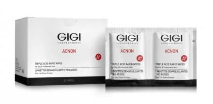 Салфетки-пилинг трехкислотные GiGi ACNON Triple acid rapid wipes 30 шт: фото
