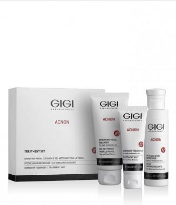 Набор трехступенчатый GIGI Acnon Чистая кожа: Мыло для глубокого очищения + Крем Ночной + Эссенция для выравнивания тона кожи: фото