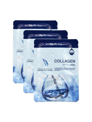 Макса с коллагеном FARMSTAY COLLAGEN VISIBLE DIFFERENCE MASK SHEET 23мл*3: фото