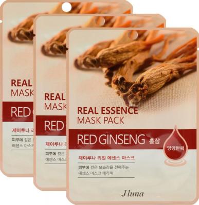 Тканевая маска с красным женьшенем JUNO Real essence mask pack red ginseng 25мл*3 шт: фото