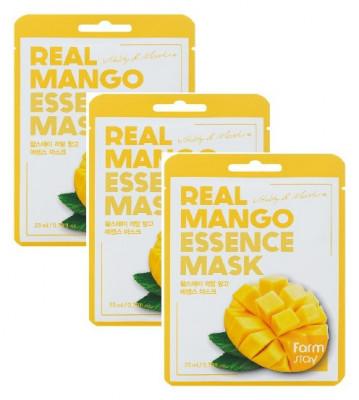 Тканевая маска для лица с экстрактом манго FarmStay Real Mango Essence Mask 23мл*3: фото