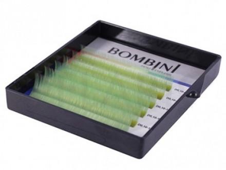 Ресницы Bombini Holi Зеленые, 6 линий, изгиб D MIX 8-13 0.10: фото