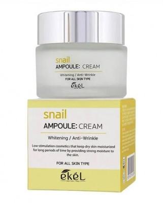 Ампульный крем с улиточным муцином Ekel Snail Ampoule Cream 50 мл: фото